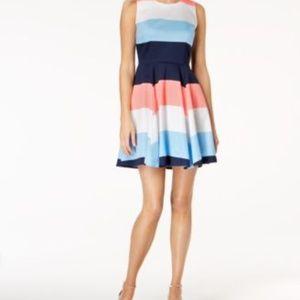 Maison Jules Blue Sleeveless Block Stripe Dress